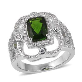 2.39 Ct Russian Diopside and Zircon Halo Ring in Rhodium Plated Silver 5.46 Grams