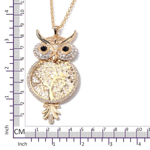 White and Black Austrian Crystal Owl Pendant With Chain (Size 28 with 2.50 inch Extender) in Yellow Plating.