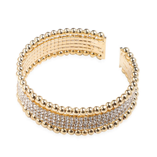 White Austrian Crystal Cuff Flexible Bangle in Gold Tone