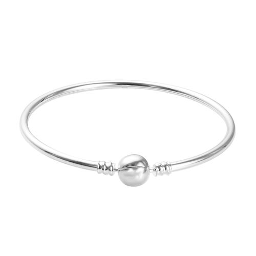 Charmes De Memoire Bangle in Platinum Plated Sterling Silver 8.20 Grams 7.5 Inch