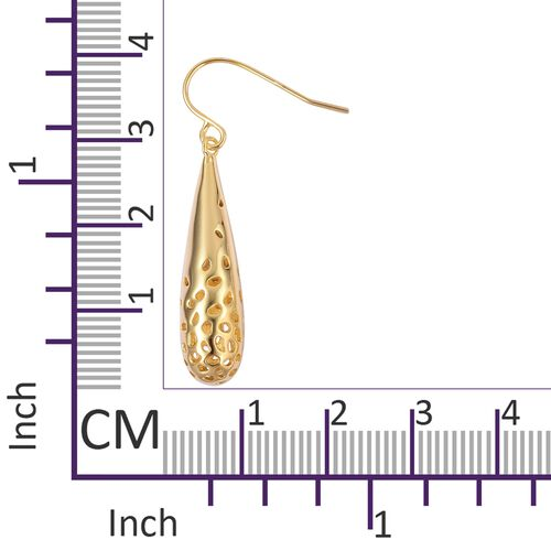 RACHEL GALLEY 14K Gold Overlay Sterling Silver Lattice Drop Hook Earrings, Silver wt 5.86 Gms.
