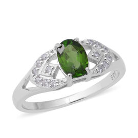 1.01 Ct Russian Diopside and Cambodian Zircon Classic Ring in Rhodium Plated Sterling Silver