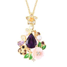 Jardin Collection- Amethyst, Pink Mother of Pearl and Multi Gemstone Pendant With Chain (Size 18) in