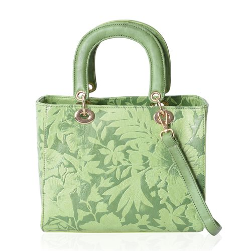 Last Chance To Buy Green Colour Flower Embossed Tote Bag with Removable Shoulder Strap (Size 25.5x21x12.5 Cm)