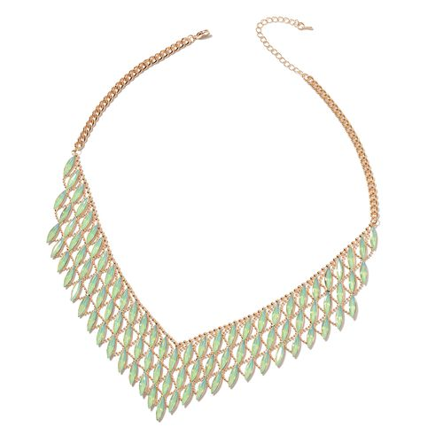 Simulated Green Stone Waterfall Necklace in Gold Tone 20 with 3 inch Extender
