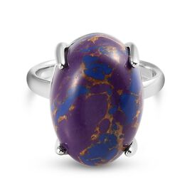 Purple Mojave Turquoise Ring in Platinum Overlay Sterling Silver 9.00 Ct.
