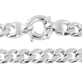 One Time Deal- Rhodium Overlay Sterling Silver Curb Link Necklace (Size 20), Silver wt 46.27 Gms.