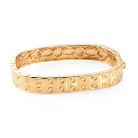 High End Designer Inspired -18K Yellow Gold Plated Bangle (Size 7.75) with Screw Texture Pattern