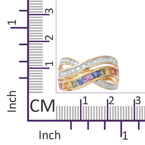 Rainbow Sapphire (Sqr) Criss Cross Ring in 14K Gold Overlay Sterling Silver 1.600 Ct.