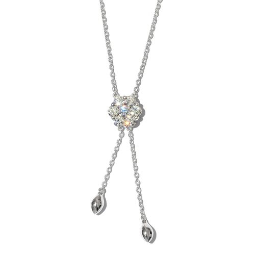 J Francis - Platinum Overlay Sterling Silver (Rnd) Lariat Necklace (Size 18) Made with SWAROVSKI ZIRCONIA
