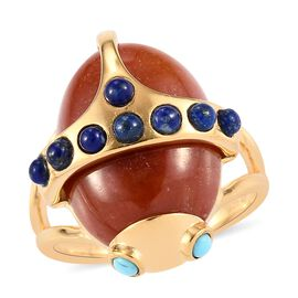 Sundays Child - Red Jade, Arizona Sleeping Beauty Turquoise and Lapis Lazuli Beetle Ring in 14K Gold