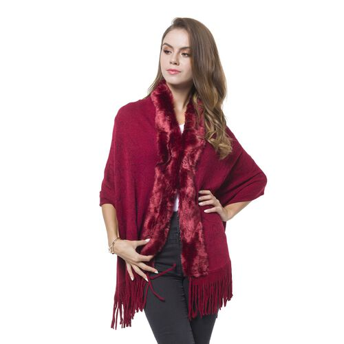 Designer Inspired-Wine Red Colour Faux Fur Wrap with Tassels (Size 170X65 Cm)
