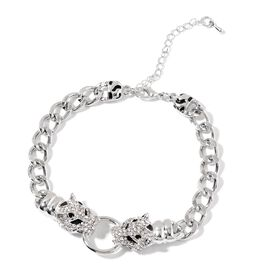 White Austrian Crystal Leopard Head Curb Link Bracelet in Silver Tone 8.5 with 2 inch Extender