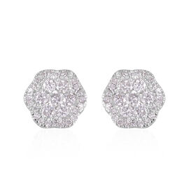 14K White Gold Diamond (Rnd) (I1-I3/G-H) Stud Earrings (with Push Back) 0.752 Ct.