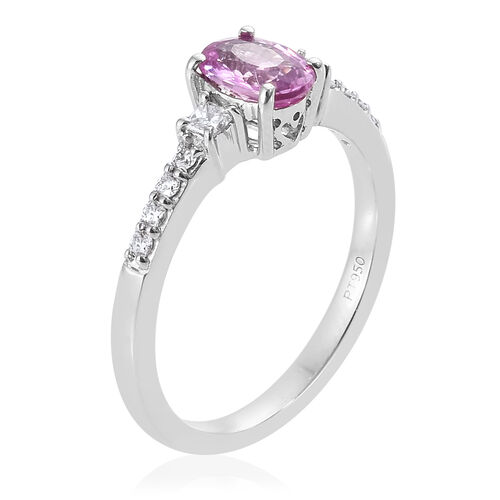 Rhapsody Madagascar AAAA Pink Sapphire (Ovl) and Diamond (VS/E-F) 950 Platinum Ring  1.000 Ct