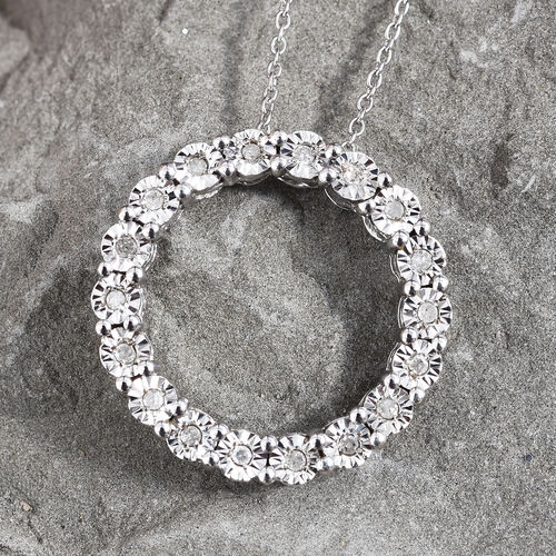 GP Diamond (Rnd), Blue Sapphire Circle of Life Pendant with Chain (Size 20) in Platinum Overlay Sterling Silver