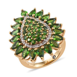 GP Russian Diopside (Rnd and Pear), Natural Cambodian Zircon and Kanchanaburi Blue Sapphire Ring in