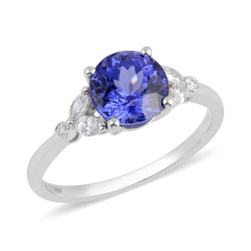 ILIANA 2.67 Ct AAA Tanzanite and Diamond Solitaire Ring in 18K White Gold SI GH