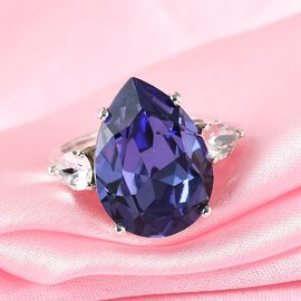 J Francis Crystal From Swarovski Tanzanite & White Crystal Ring in Platinum Overlay Sterling Silver