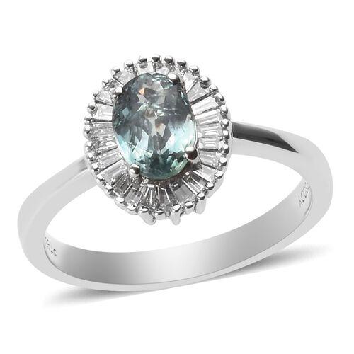 RHAPSODY 1 Carat AAAA Narsipatnam Alexandrite and Diamond Halo Ring in 950 Platinum VS EF