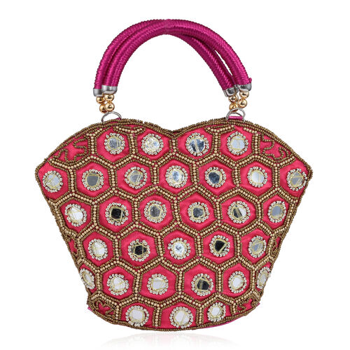 Super Auction - Limited Edition, Hand Made, Hand Set - Golden Colour Beads Embellished Fuchsia Colour Handbag (Size 22X18X7 Cm)