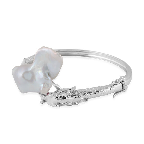 Baroque Pearl and Burmese Ruby Dragon Bypass Bangle (Size 7.5) in Rhodium Overlay Sterling Silver, Silver wt 24.06 Gms