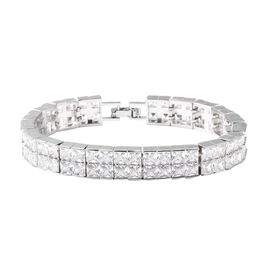 Simulated Diamond (Sqr) Bracelet (Size 7.5) in Silver Tone