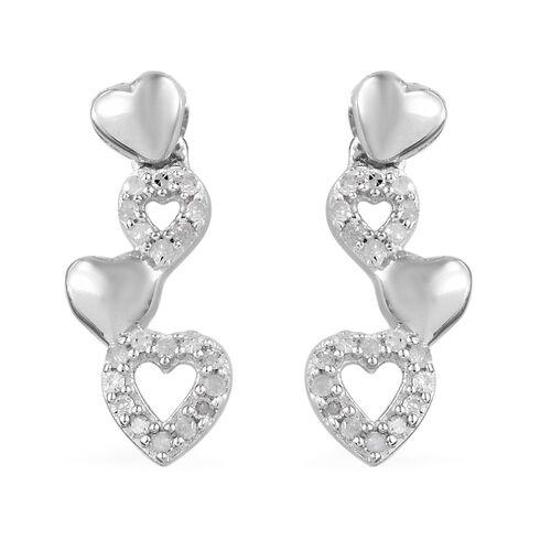 GP Diamond (Rnd), Kanchanaburi Blue Sapphire Heart Earrings (with Push Back) in Platinum Overlay Ste