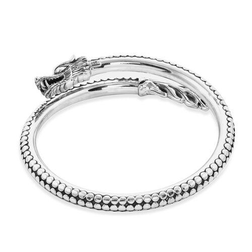 Royal Bali Collection - Sterling Silver Dragon  Bangle (Size 8), Silver wt 40.00 Gms