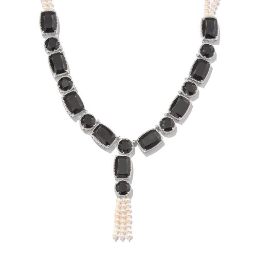 Designer Inspired - Boi Ploi Black Spinel (Cush), Pearl Necklace (Size 18 and 2 inch Extender) in Platinum Overlay Sterling Silver 202.500 Ct.