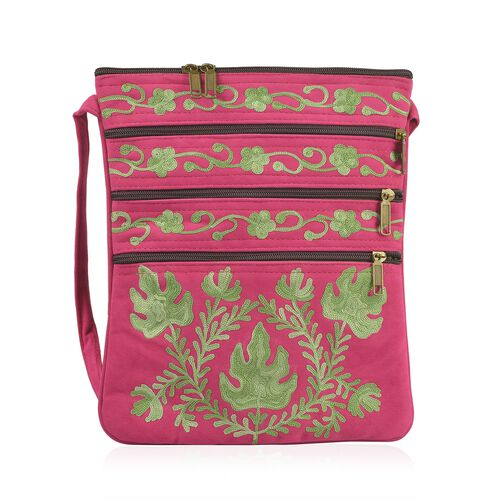 Green and Fuchsia Colour Hand Embroidered Floral and Leaves Pattern Sling Bag with External Zipper P