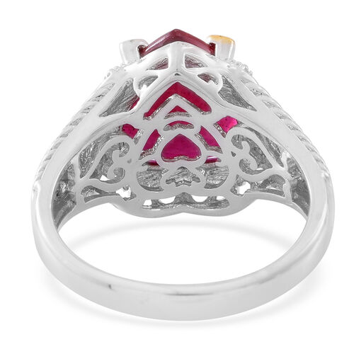 Designer Inspired - African Ruby (Hrt), Burmese Ruby Ring in Rhodium and 14K Gold Overlay Sterling Silver 8.350 Ct. Silver wt 6.45 Gms.