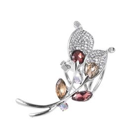 Simulated Champagne Diamond,Simulated Garnet and White Austrain  Crystal Clasp in Silver Plated