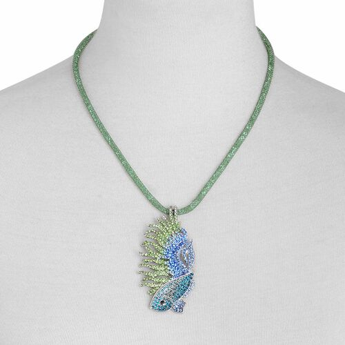 Designer Inspired AAA Multi Colour Austrian Crystal Fish Necklace (Size 20 with 2 inch Extender) in Silver Tone