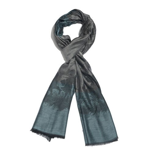 Grey, Black and Turquoise Colour Tree and Children Pattern Jacquard Scarf (Size 190x70 Cm)