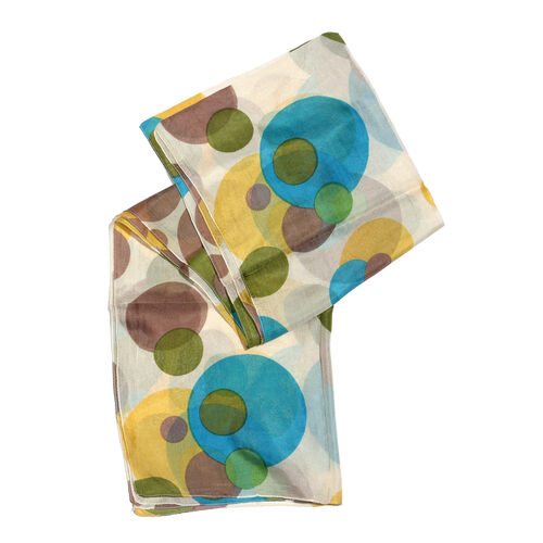 100% Mulberry Silk Blue, Off White and Multi Colour Handscreen Polka Dots Printed Scarf (Size 180X50 Cm)
