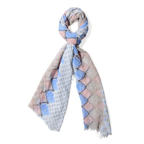 Off White, Light Brown and Multi Colour Small Flower Pattern Scarf (Size 180x90 Cm)
