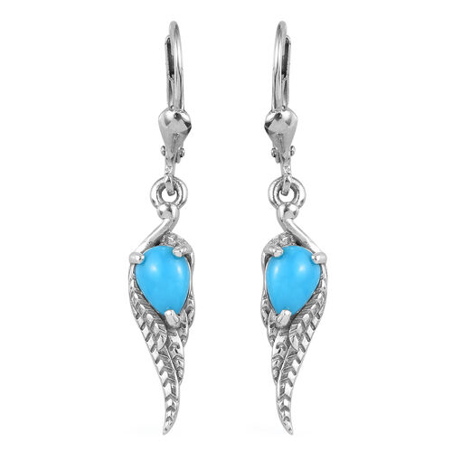 1 Carat AA Arizona Sleeping Beauty Turquoise Angel Wing Earrings in Platinum Plated Sterling Silver