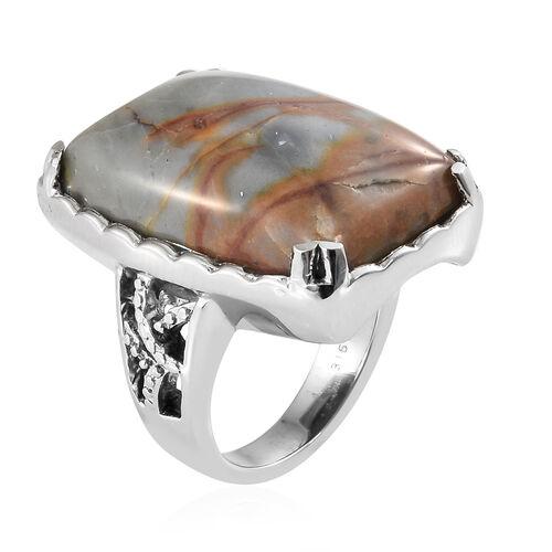 Rare Size Venus Jasper (Cush 25x18) Ring Stainless Steel 25.750 Ct