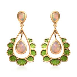 AA Ethiopian Welo Opal Enamelled Earrings (with Push Back) in 14K Gold Overlay Sterling Silver 1.35