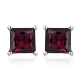 Rhodolite Garnet (Sqr) Stud Earrings (with Push Back) in Platinum Overlay Sterling Silver   1.750 Ct.
