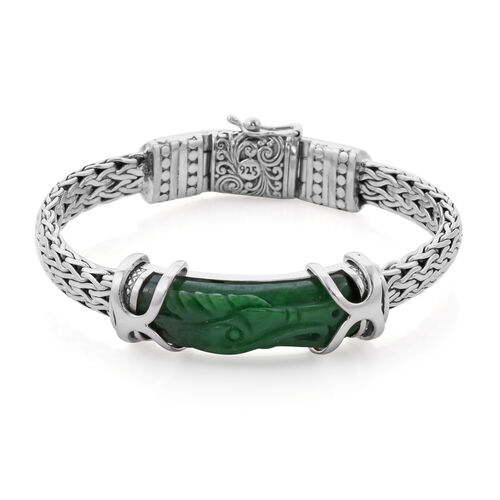 Royal Bali Collection - Green Jade Dragon Carved Bracelet (Size 7.5) in Sterling Silver 27.08 Ct, Si