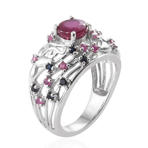 African Ruby (Rnd 1.150 Ct), Kanchanaburi Blue Sapphire Filigree Ring in Platinum Overlay Sterling Silver 1.750 Ct.