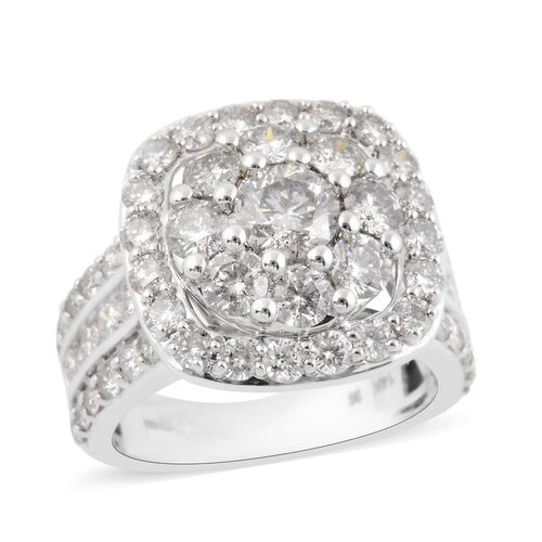 3.53 Ct Diamond Cluster Ring in 14K White Gold I2 I3 GH