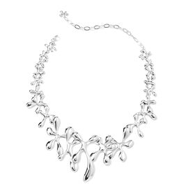 LucyQ Drip Statement Necklace in Rhodium Plated Sterling Silver 74.34 Grams 14 with 5 inch Extender