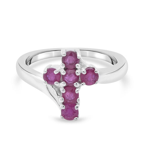 Peronalise Engraved Ruby Cross Ring in Silver