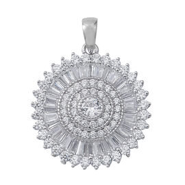 ELANZA Simulated Diamond (Rnd and Bgt) Pendant in Rhodium Overlay Sterling Silver
