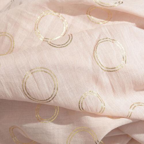 100% Cotton Cream Colour Scarf with Golden Foil Circle Print (Size 180x110 Cm)