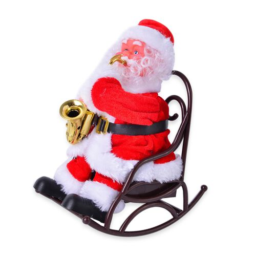 (Option 1) Christmas Decorations - Singing Electric Toy Santa Claus Playing Saxophone (Size 22x19 Cm)