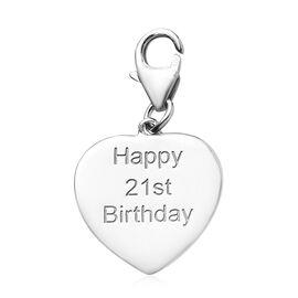 Platinum Overlay Sterling Silver Happy 21st Birthday Charm